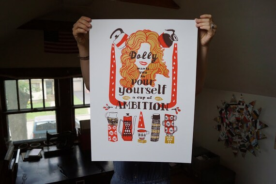 Dolly Parton Screen Print GOLD Edition - Hand Printed Silk Screen Poster - Kitchen Art
