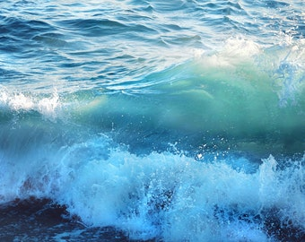 Mermaid Ocean Photography - Blue Green Turquoise Waves Beach Sea Coastal Fine Art Photography Print Canvas