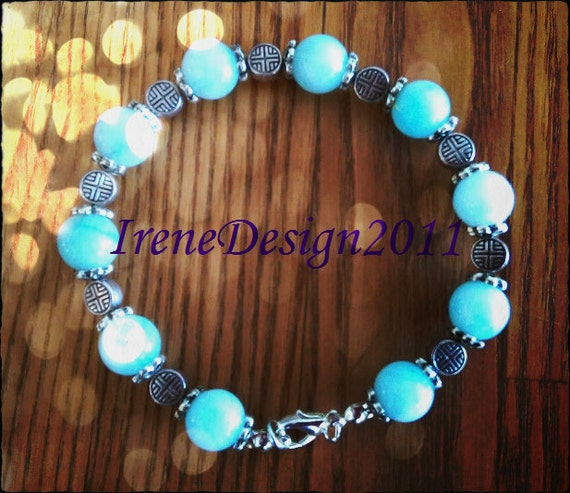 Handmade Silver Bracelet with Amazonite by IreneDesign2011