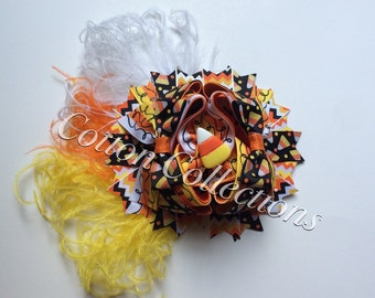 Candy corn boutique bow