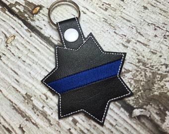 Blank Highway Patrol - Sheriff - Deputy - Back the Blue - POLICE - In The Hoop - Snap/Rivet Key Fob - DIGITAL Embroidery Design