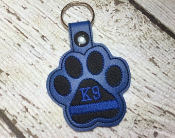 K9 - Thin Blue Line - Paw Print - POLICE - Law Enforcement - In The Hoop - Snap/Rivet Key Fob - DIGITAL Embroidery Design
