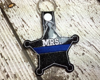 Mrs. - Wife - heriff - Deputy - Back the Blue - POLICE - Law Enforcement - In The Hoop - Snap/Rivet Key Fob - DIGITAL Embroidery Design