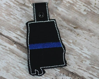 Thin Blue Line Alabama - POLICE - In The Hoop - Snap/Rivet Key Fob - DIGITAL Embroidery Design