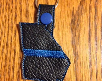 Thin Blue Line GEORGIA- POLICE - In The Hoop - Snap/Rivet Key Fob - DIGITAL Embroidery Design