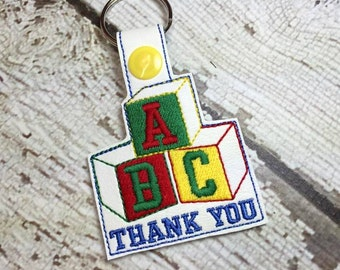 Building Blocks - ABC - Day Care - Child Care - Thank You - Key Fob - In The Hoop - Snap/Rivet Key Fob - DIGITAL Embroidery Design