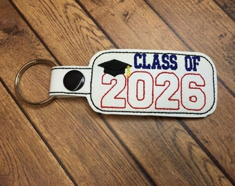 Class of 2026 - Graduation SNAP Key Fob In The Hoop - DIGITAL Embroidery DESIGN