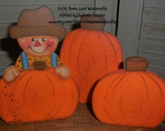Small Handpainted Scarecrow on a Pumpkin with 2 other Pumpkins for Fall Decoration, Hostess Gift, Decoration, Thanksgiving, Small Gift, Fun