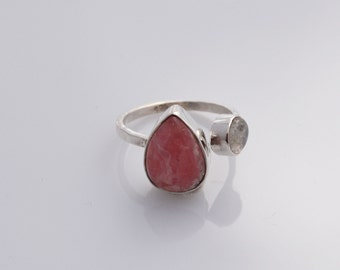 Rhodochrosite and Moonstone Silver Ring- natural gemstone - handmade ring - pink ring - open ring