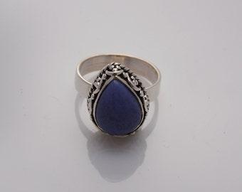 Lapis Lazuli patterned Ring - natural stone - boho ring - blue stone ring - silver ring - sterling silver rings