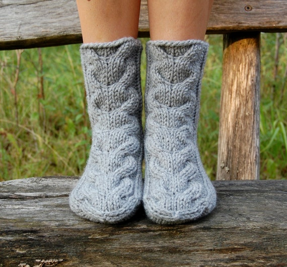 Knit Winter Slipper Socks, Knitted Wool Slippers, Cable Knit Slipper Boots, Hand Knit Stocking, Womens Socks for Home,  Christmas Gift