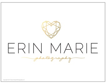 Premade Gold Foil Geometric Heart Photography or Business Logo Design