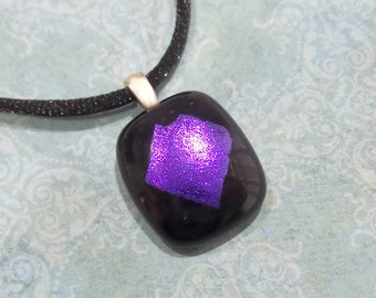 Purple Pendant, Small Black Necklace with Purple Dichroic, Fused Glass Necklace - Lavendar Doll- 2075-5