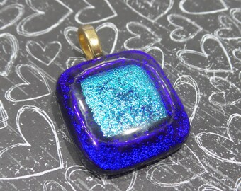 Royal Blue and Turquoise Blue Jewelry, Quirky Blue Pendant, Omega Slide - Night Oasis - 884-5