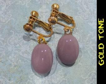 Purple Clip On Earrings, Dangle Clip Earring, Screw Back, Plum ClipOn Earrings, Fused Glass Jewelry - Dusty Purple- -5