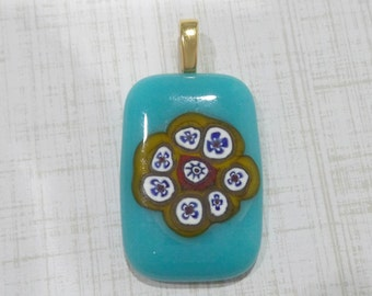 Flower Pendant, Blue and Yellow Pendant, Omega Slide, Glass Fusing Jewelry - Hippy Babe - -5