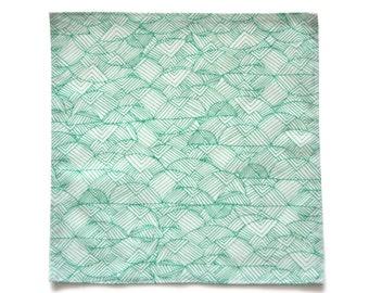 Mens pocket square - Mens handkerchief - Green white pocket square - Striped handkerchief - Green handkerchief - Green white handkerchief
