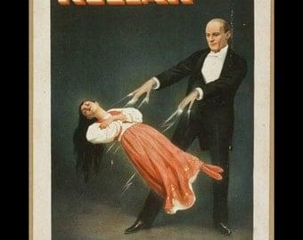 "Kellar~  Levitation, New trick, Magic & mystery, 1894   8x10""  Satin Canvas art print"