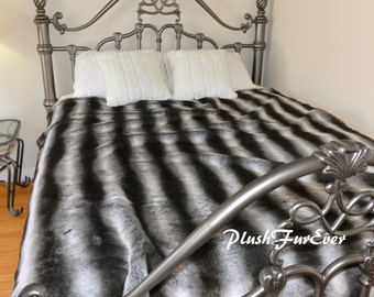 "Faux Fur Bedspread Coverlets Kings Size Gray Silver Black Chinchilla Stripe Comforter Throw Blankets Luxurious New Arrival USA 96"" x 120"""