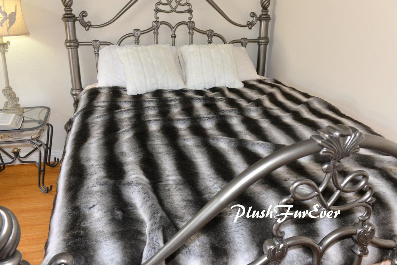 Faux Fur Bedspread Coverlets Kings Size Gray Silver Black