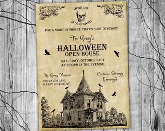 HALLOWEEN INVITATION Printable, Adult Halloween Invitation, Halloween Party Invite Printable, Vintage Raven Open House Haunted House Mansion