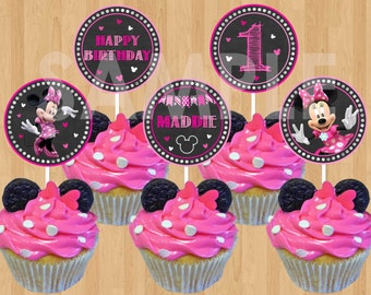 Minnie Mouse Cupcake Topper, Printable DIY Minnie Cupcake Topper, Chalkboard Minnie Mouse Birthday Party Decoration, 2 inch Circle Favor Tag