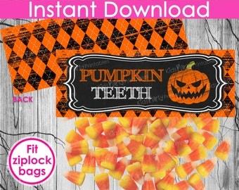 HALLOWEEN Pumpkin Teeth Bag Toppers INSTANT DOWNLOAD, Halloween Bag Toppers, Halloween Printables, Halloween Treat Bag Toppers, Candy Party