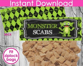 HALLOWEEN Monster Scabs Treat Bag Toppers INSTANT DOWNLOAD, Printable Halloween Bag Toppers, Halloween Chalkboard Bag Toppers,Party Supplies