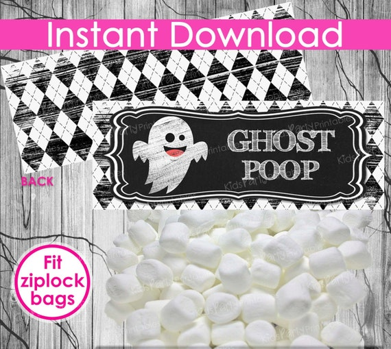 HALLOWEEN Ghost Poop Treat Bag Toppers INSTANT DOWNLOAD