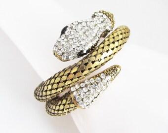 Snake Bracelet, Rhinestone Bracelet, Snake Jewellery, Gold Cuff Bracelet, Vintage Bracelet, Snake Bangle, Snake Jewelry, Gold Snake Bracelet
