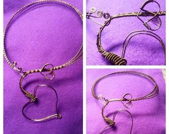 Heart Motif Antique Bronze Neckpiece Gift for Her Unique Couture Boutique Designer Necklace