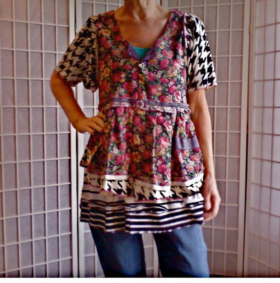 39 Medium Country Dress UpCycled Clothing: Funky By ArtzWear