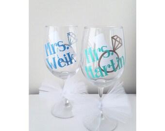 Bride Wine Glass; Bride; Wedding glass; Bridal Glass; Engaged Glass; Bride to be; bride; Wedding Ring; Tulle