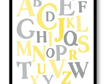ABC Alphabet Nursery Art Nursery Baby Art Yellow Grey Gray Child Baby Art Print Kids Room Wall Art Decor