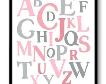 ABC Alphabet Nursery Art Nursery Baby Art Pink Grey Gray Child Baby Art Print Kids Room Wall Art Decor