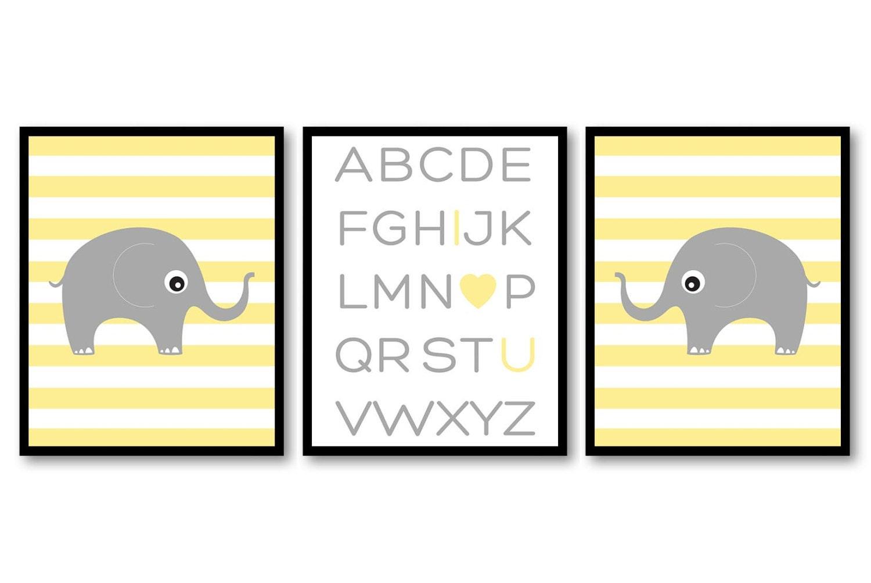 Yellow Grey Elephant Alphabet LOVE Nursery Art Nursery Print Set of 3 Stripes Elephants Child Art Ki