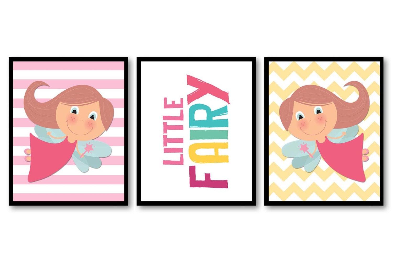 Little Fairy Nursery Art Print Set of 3 Chevron Stripes Child Art Kids Girl Room Wall Decor Baby Fai
