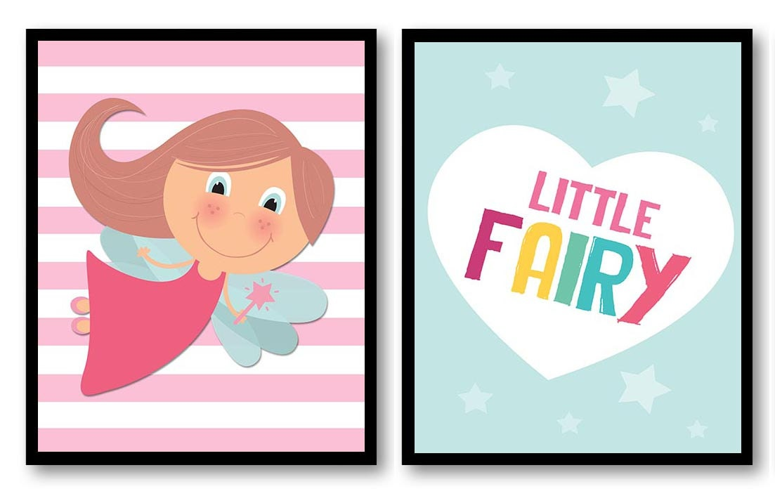 Little Fairy Nursery Art Nursery Print Set of 2 Art Prints Heart Fairies Fairy Tale Star Girl Child