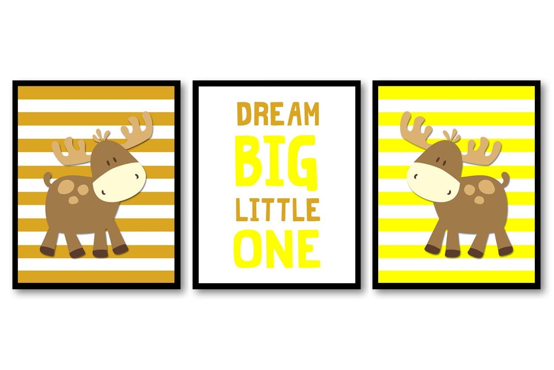 Moose Nursery Art Dream Big Little One Prints Set of 3 Brown Beige Yellow Baby Wall Decor Forest Woo
