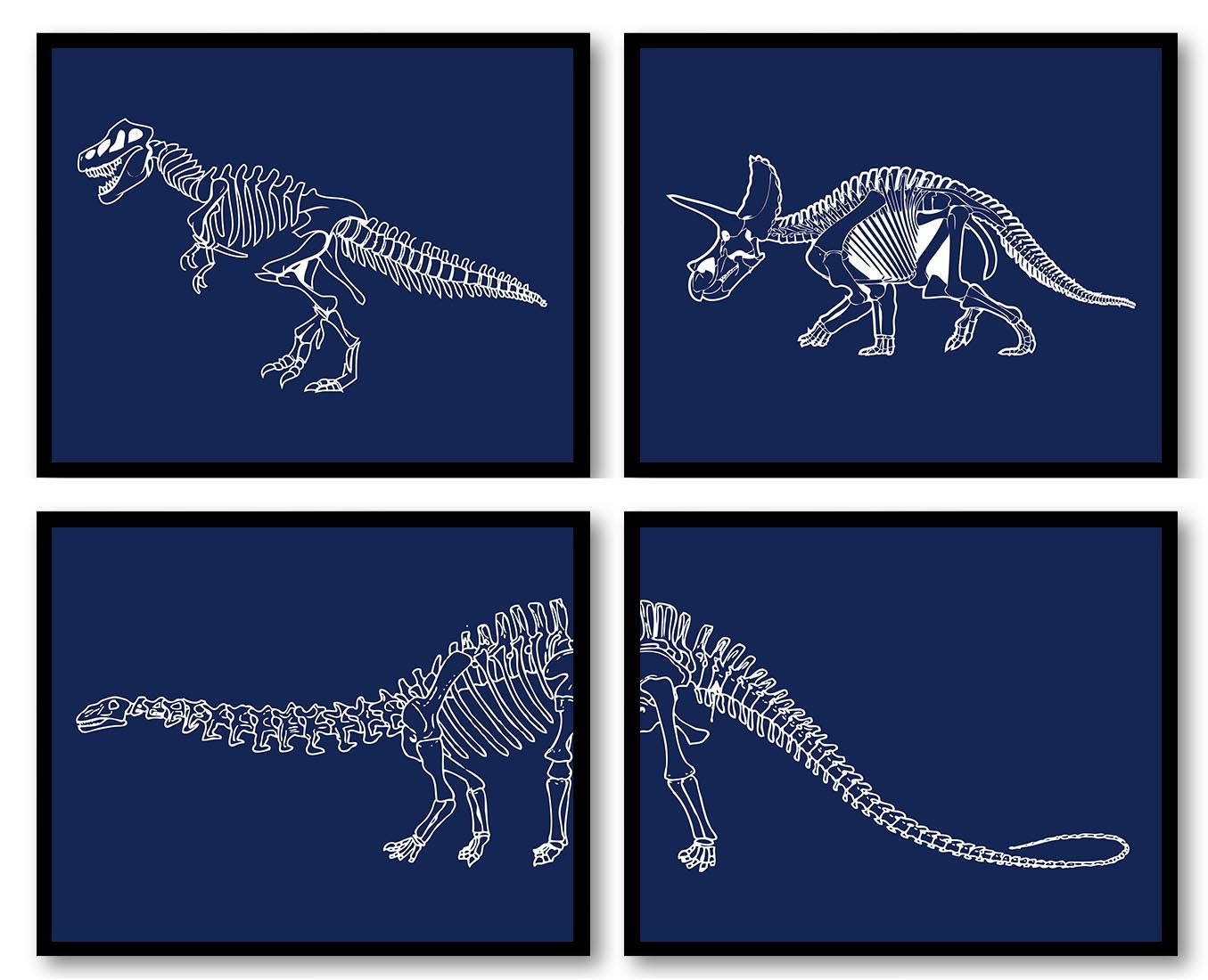 Dinosaur Nursery Art Set of 4 Prints Dinosaur Bones Skeleton Navy Blue White Boy Wall Decor Tyrannos