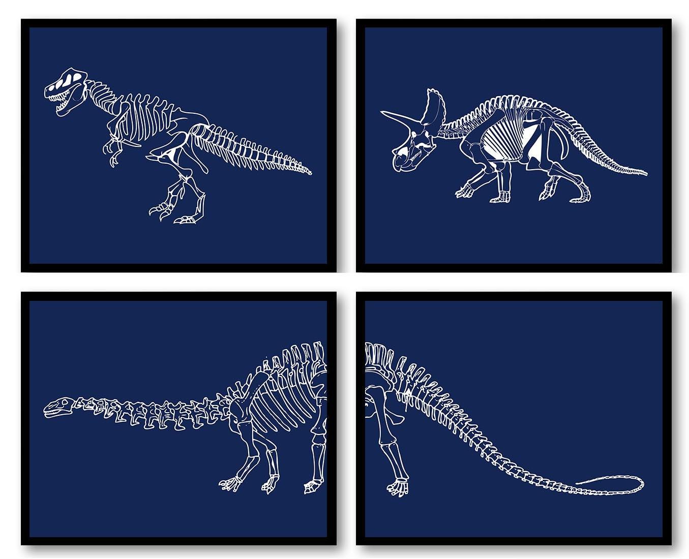 Dinosaur Nursery Art Set of 4 Prints Dinosaur Bones Skeleton Navy Blue White Boy Wall Decor Tyrannos