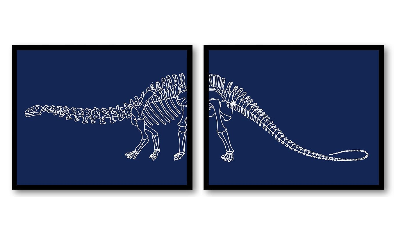 Brachiosaurus Dinosaur Nursery Art Set of 2 Prints Dinosaur Bones Skeleton Navy Blue White Boy Wall