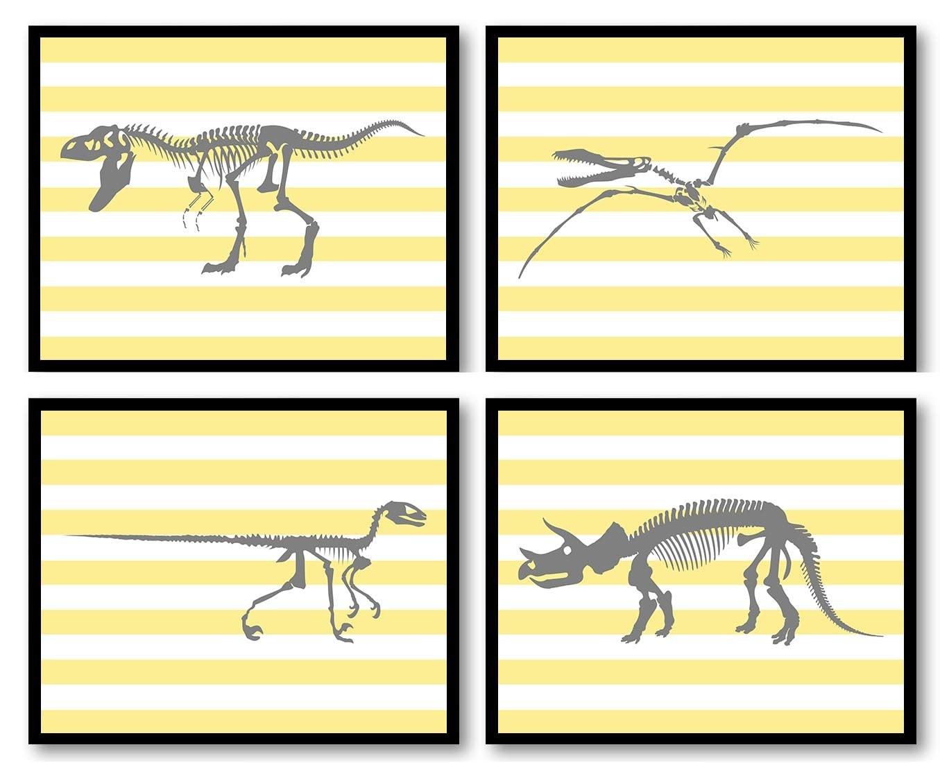 Dinosaur Nursery Art Set of 4 Print Bone Skeleton Yellow Grey Gray Stripes Boy Wall Decor Tyrannosau