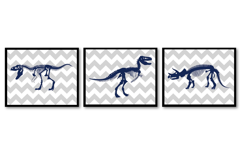 Tyrannosaurus T Rex Triceratops Dinosaur Nursery Art Set of 3 Prints Dinosaur Bones Skeleton Navy Bl