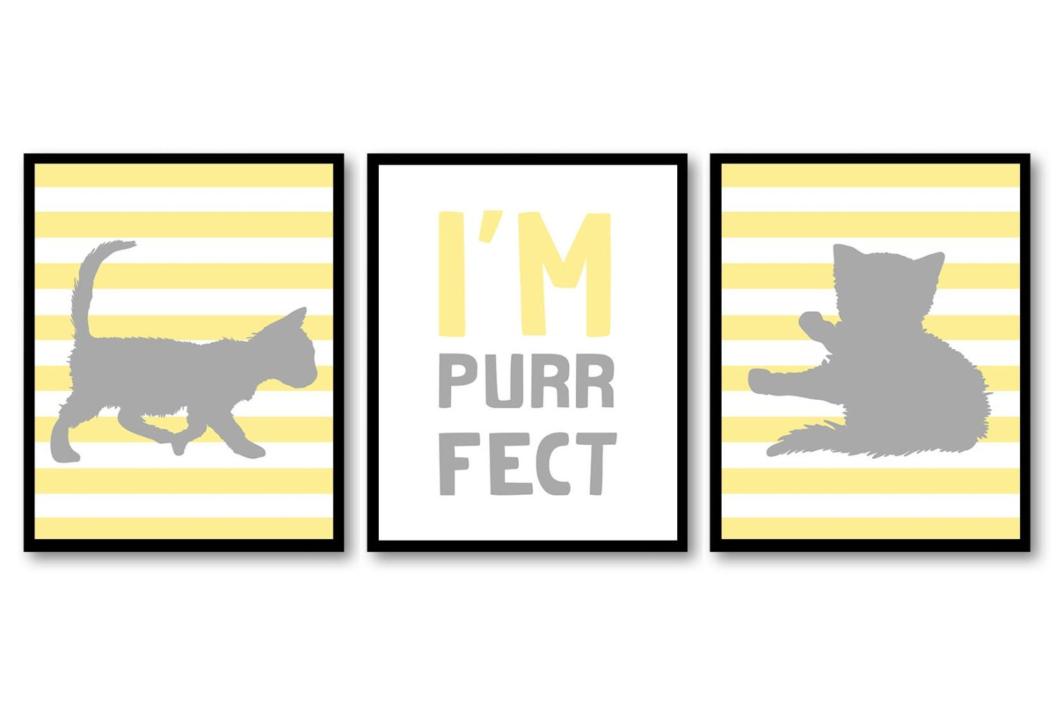 Cat Nursery Art Kitten Prints Set of 3 Prints Yellow Grey Gray Stripes Im Purrfect Baby Kids Childre