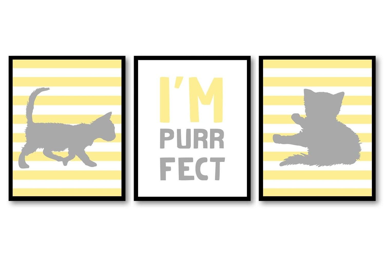 Cat Nursery Art Kitten Prints Set of 3 Prints Yellow Grey Gray Stripes Im Purrfect Baby Kids Childre
