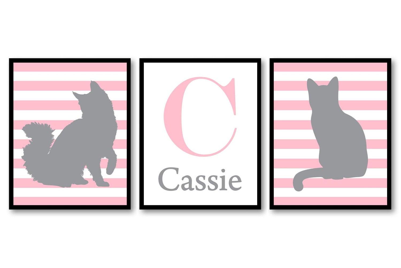 Letter Personalized Name Cat Nursery Art Kitten Prints Set of 3 Prints Pink Grey Gray Stripes Baby K