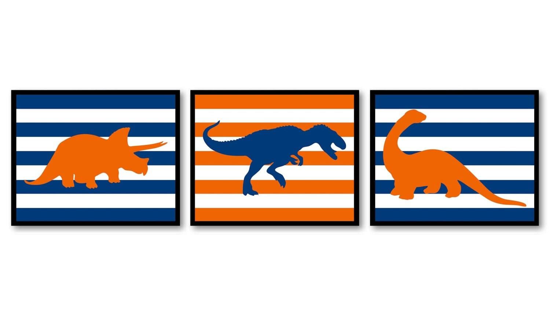 Dinosaur Nursery Art Dinosaurs Set of 3 Prints Navy Blue Orange Stripes Tyrannosaurus Rex Triceratop