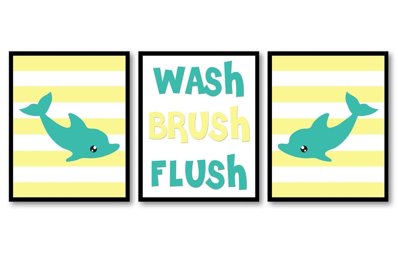 Octopus Wash Flush Brush Yellow Teal Blue Bathroom Print Nursery Art Nursery Print Set of 3 Beach Oc