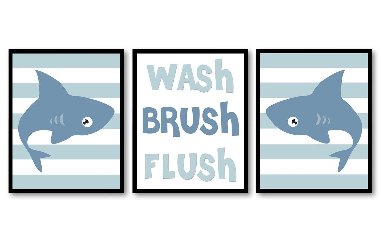 Shark Wash Flush Brush Grey Blue Bathroom Print Nursery Art Nursery Print Set of 3 Beach Ocean Strip